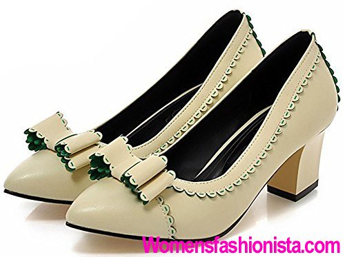 6925362517f Summerwhisper Women s Elegant Bowknot Pointed Toe Slip-on Pumps Block Mid  Heel Work Shoes Beige