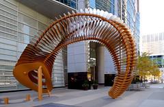 Weaving Fence & Horn.Calgary (Bernard Spragg) Tags: weavingfencehorncalgary publicart street lumxfz1000