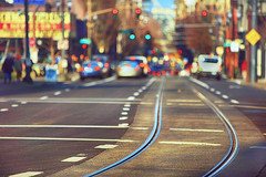 A Bend In The Road (Ian Sane) Tags: ian sane images abendintheroad train tracks downtown portland oregon southwest 10th avenue bokeh blur urban photography canon eos 5ds r camera ef70200mm f28l is usm lens