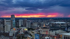 Stormy sunset in Detroit (Notkalvin) Tags: rooftop sunset city notkalvin mikekline cityscape storms skyline evening greektown motorcity notkalvinphotography clouds night roughweather cloudporn buildings viewfromabove lookingdown landscape wide nopeople comericapark foxtheater