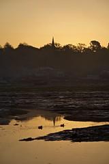 Sunrise in Bembridge (sazzyo) Tags: reflections reflectionsinwater nikon sea water landscape ducks tide tidal seascape yellowsky church yachts boats sunrise
