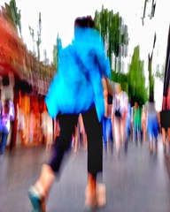 Under the Influence (cresting_wave) Tags: iphoneography mobileography iphonephotography mobilephotography streetphotography iphone7plus procamera snapseed pedestrians people intentionalcameramovement icm motionblur abstract blue running