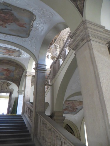 Grand escalier, palais Clam-Gallas, Husova, Stare Mesto, Prague, République tchèque.
