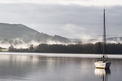 Early morning mist over Windermere (Peter J. Ham.) Tags: vacation holiday cumbria lakeland windermere water lake aqua agua boat yacht sail fell hill trees countryside england beauty scenery vista landscape outdoors activity sport canon