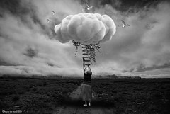 Ascensión (Marco San Martin) Tags: ascensión artwork myart blackandwhitephotography blackandwhite creative dreams mujer ladder cloud heavenly heaven cielo woman artvisuals arte blancoynegro marcosanmartinfotografia marcosanmartin graphicdesign design grandmother composition