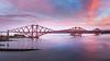 Forth Bridge Sunset Glow (roseysnapper) Tags: forthbridges forthroadbridge olympusmzuiko1442mmf3556 olympusomdem10ii southqueensferry edinburgh dusk outdoor sky sunset river bridge water landscape seascape scotland