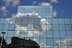The hole in the sky (mikael_on_flickr) Tags: theholeinthesky holeinthesky hole buco sky himmel cielo skyer cloud nuvole reflection riflesso reflejo rovigo building palazzo blu blue blau bleu skyarchitecture architettura arkitektur