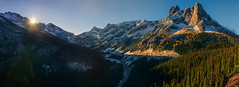 Washington Pass Rising (Dan Mihai) Tags: northcascadesnationalpark libertybell washingtonpass panorama panoramic sunrise sunup snow larchtrees windingroad highway mountain serene washingtonstate pacificnorthwest landscapes beautiful nature landscape
