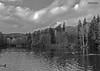 """Bad Sachsa, Kurparkteich, """"Schmelzteich mit Spiegelung"""", BW (joergpeterjunk) Tags: badsachsa kurpark schmelzteich outdoor himmel herbstimpressionen herbststimmung bw schwarzweis schmelzteichmitspiegelung panasonicdmcfz200 bridgekamera"""