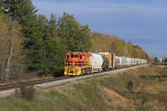 All down hill from way back there (GLC 392) Tags: mqt marquette rail railroad railway train emd gp38 mmrr 2057 mid michigan mi baldwin bald eagle job ludington fall color