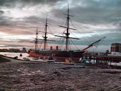 Sun going down on HMS Warrior 072 (saxonfenken) Tags: 6801boats 6801 hmswarrior royalnavy dusk sails funnel rigging challengeyouwinner tcf friendlychallenges gamewinner thumbsup perpetual pregamewinner 15challengeswinner