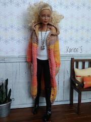 Maxi abrigo hecho por mí. (Karine'S HCF (Handmade Clothing & Furniture)) Tags: barbie mtm fashionista ooak handmade abrigo punto amano rubia sweater encargo