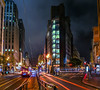 market at geary street panorama (pbo31) Tags: bayarea california nikon d810 november fall 2017 dark night boury pbo31 city urban sanfrancisco color black lightstream motion traffic latenight infinity marketstreet downtown financialdistrict bus muni publictransit busstop panoramic large stitched panorama red gearystreet unionsquare kearnystreet streetlights architecture chase bank corner 3rd street