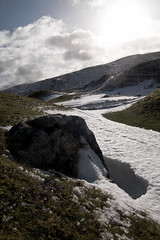 Mountain snow (sam.naylor) Tags: ricoh grd iv digital snow grass rocks mountains wales brecon beacons sky bright sun clouds landscape