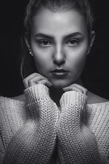Davina Portrait (HarryK Fotografie) Tags: blackandwhite bw portrait face model beauty shooting closeup girl photography photographer art