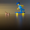 skate cat board (genelabo) Tags: cat lego skate katze istanbul minifigure blue blau gelb reflection sony 35mm square quadrat katz board