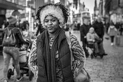 Silver Lining (Leanne Boulton) Tags: portrait urban street candid portraiture streetphotography candidstreetphotography candidportrait streetportrait streetlife eyecontact candideyecontact woman female face facial expression smile eyes look emotion feeling mood fur furry hairstyle winter style stylish fashion tone texture detail depthoffield bokeh naturallight outdoor light shade shadow city scene human life living humanity society culture people canon canon5d 5dmkiii 70mm ef2470mmf28liiusm black white blackwhite bw mono blackandwhite monochrome glasgow scotland uk