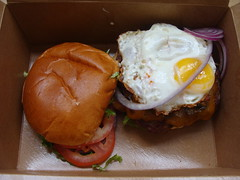 Eggcellent Burger (knightbefore_99) Tags: food tasty lunch work takeout takeaway vancouver bc bun burger eggcellent egg johnbpub tomato onion great awesome