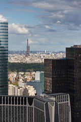 View from Grande Arche to the skyscrapers of the business center of La Defense (Dmitry Yelloff) Tags: paris france business city modern glass company worldcorporation town market cityscape office center tradetower building stockexchange skyscraper urbanscene horizon stock international landmark organization citylife capitalcities colorimage outdoors architecture place work downtown district banking bank day clouds skyline economics french big large tall high great line montparnasse eiffeltower grandearche aerial