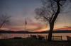 Sunrise and Shadows (SueZinVT) Tags: sunrise silhouettes lakebomoseen water happyfencefriday flag vermont