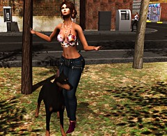 My little puppy! (kare Karas) Tags: woman lady femme girl girly outdoors city urban beauty pretty sexy sensual cute dog puppy virtual secondlife avatar colors huds jewelry poses top mesh bento event scandalize anybodyevent fashiowlposes coven thecovenraisingthedead moondancejewels