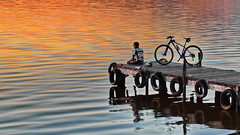 Watching the Sunset over Water (gerard eder) Tags: world travel reise viajes europa europe españa spain spanien valencia albufera landscape lake lago lagodelaalbufera lamarjal albuferalake albuferasee natur nature naturaleza sunset sonnenuntergang puestadesol see wasser water outdoor bicycle reflections spiegelung sport