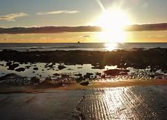North Sea Sunrise From St. Mary's Causeway (Gilli8888) Tags: northeast whitleybay tyneandwear stmarysisland seaside northsea shore shoreline nikon coolpix p900 water causeway sun sunrise sky clouds dawn rocks rockpool seascape silhouette silhouettephotography