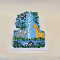 Safari Animals 700171 (Creative Cakes - Tinley Park) Tags: jungle safari shaped one monkey elephant zebra girrafe