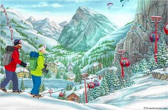 Day-7 Time To Get Outdoors (☼Happy Spring Solstice!☼) Tags: adventcalendar day7 jacquielawson scene slopes cablecars skiing mountains parachutes chalet