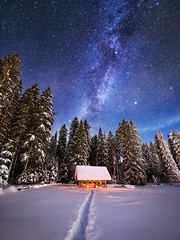 Winter night (Dreamy Pixel) Tags: abstract alpine astronomy astrophotography background beautiful beauty blue cabin christmas cold color constellation country dark fairy flashlighting forest full galaxy hiker journey landscape light male man milky moon mountain nature new night outdoor people person sky snow snowy space star starry stars travel tree village walking way white winter year