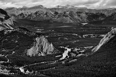 Views Seen on a Gondola Ride (Black & White, Banff National Park) (thor_mark ) Tags: nikond800e lookingne day2 triptoalbertaandbritishcolumbia banffnationalpark capturenx2edited colorefexpro silverefexpro2 blackwhite tunnelmountain rockymountains canadianrockies centralfrontranges vermilionrange stoneysquawmountain sawbackslateranges sawbackrange mountrundle southerncontinentalranges southbanffranges rundlepeaks cascademountain mountastley palliserrange spectralpeak banffspringshotel hotel bowriver river bowvalley gondolaride lakeminnewanka lake outside nature landscape overcast rollinghillsides mountains mountainsindistance mountainsoffindistance cloudsaroundmountains hillsides trees hillsideoftrees evergreens project365 alberta canada