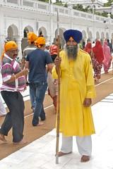 Sikh guard at the Golden Temple (Pejasar) Tags: pilgrims spear turban beard people holysite india punjab amritsar guard sikh