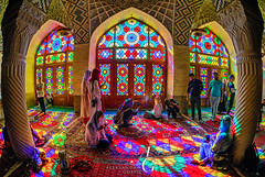 Submerged in Color (TranceVelebit) Tags: iran islamic republic islam persia fars province shiraz nasir ol molk almulk mosque pink light morning color colors detail architecture stained glass people urban historic carpets