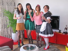 Girly outfits (Paula Satijn) Tags: girl lady dress skirt party tgirl tranny transvestite maid satin silk shiny sexy hot legs friends stockings smile happy joy champagne pumps heels apron
