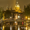 Our Lady of Red Lights (1 of 1) (Borisbadanoff) Tags: 2013 amsterdam m43 canal bridge church water refelction red lights