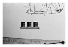 """Sculpture by J. Prestrot - 2017/02/16  Sculpture: """"Blue Moon and Golden Stars N°3""""  by René Weber  (1993)  ♒  Minolta SRT101b + Minolta MD Rokkor 50 mm 1:1.7 + Agfaphoto APX 100"""