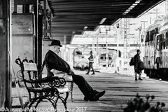 Some Trains Will Never Come (Aleksandar M. Knezevic Photography) Tags: budapest hungary magyar old man oldman trainstation train station bench sitting bw monochrome street urban documantary nostalgic sleeping naping waiting
