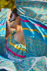 A whirl of blue (radargeek) Tags: 2016 dayofthedead okc oklahomacity plazadistrict everythinggoesdancestudio facepaint dancing dance
