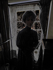 Awaiting the First Ghost of Christmas (Steve Taylor (Photography)) Tags: ghost christmaspast achristmascarol art digital mannequin curtains window lowkey spooky eerie scary creepy frightening uk gb england bars greatbritain unitedkingdom london 221bbakerstreet sherlockholmesmuseum silhouette