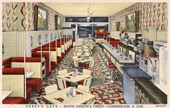 Derby's Cafe, Chamberlain, South Dakota (SwellMap) Tags: postcard vintage retro pc 30s 40s 50s 60s thirties forties sixties fifties roadside midcentury atomicage nostalgia americana advertising coldwar artdeco linen design style architecture building