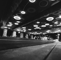 San Jose (bior) Tags: hasselblad500cm trix kodaktrix distagon 120 mediumformat 6x6cm street sanjose underpass overpass bluedonuts sensingyou publicart guadalupeparkway guadalupeexpressway santaclarastreet downtownsanjose highway87 sr87 ca87