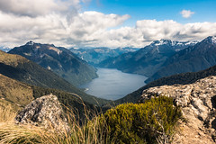 View from Kepler Track (redfurwolf) Tags: newzealand kepler track hiking mountain fjord clouds landscape outdoor water rock sky nature view redfurwolf rx100m4 sony gras green