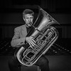 Tubist Portrait (tim.perdue) Tags: tubist portrait tuba miraphone brass instrument musical musician music man person black white bw monochrome nikon d5500 nikkor 18140mm horn stage auditorium mees hall capital university columbus bexley ohio tubism