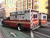 FDNY EMS Ambulance 1218 and 403 (Triborough) Tags: ny nyc newyork newyorkcity newyorkcounty manhattan greenwichvillage fdny newyorkcityfiredepartment firetruck fireengine fdnyems ems ambulance ford fseries f450 wheeledcoach