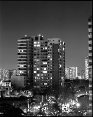 One Tower in Santiago (kriphoto) Tags: arquitectura blackandwhite city light sinar symmar film ilford placa