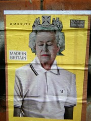 THE QUEEN = MADE IN BRITAIN 🐝🐝🐝🐝Manchester Street art (rossendale2016) Tags: jewellery earrings rings ear wall sticker stuck artist 2017 smiler henry edward mary victoria down handed royal obligatory ancient old ornate head heavy good emerald ruby diamond jewels wearing crown shirt polo white perry fred governor realm navy airforce army forces armed commander anne princess edinburgh duke charles prince lancaster duchy balmoral castle windsor palace buckingham poster quarter northern family roya elizabeth elisabeth majesty her portrait kingdom united uk england queen art street manchester