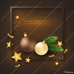 Merry Christmas holiday background. (everythingisfivedollar) Tags: merry christmas happy new year bauble vector party glitter bubble frame fir branch ball golden xmas star serpentine bright light abstract glow holiday background celebration gold illustration shiny design decoration black luxury glowing premium greeting season realistic template element 3d border day symbol festive art style celebrate winter sign tree