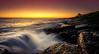 Bathing in Light (ianbrodie1) Tags: howick northumberland bathing house sunrise seascape ocean waves rocks glow orange leefilters