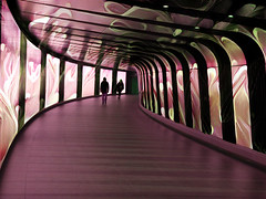 The Cave of Hypnos (Steve Taylor (Photography)) Tags: caveofhypnos art digital architecture mauve red green weird strange calm people lady man woman uk gb england greatbritain unitedkingdom london curve lines texture bend passage stpancras station underground tunnel mesmerising hypnotic