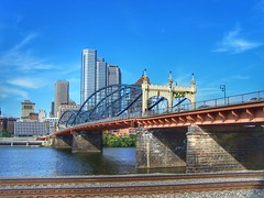 Pittsburgh Pennsylvania   -  The Smithfield Street Bridge  1883  - Historic NRHP (Onasill ~ Bill Badzo) Tags: pittsburgh pa pennslyvania downtown smithfield street bridge nrhp hell gates designed gustav lindenthal 1883 transportation landmark onasill hillside 446 cityofbridges allegheny river county civic skyline railroad track tourist travel steeltown coal furnaces mills incline cafe depot erie restaurant train station